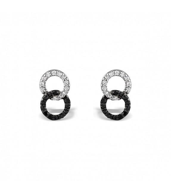 Boucles d'oreilles anneaux entrelacés en or blanc 375/00 et sertis de diamants noirs et blancs