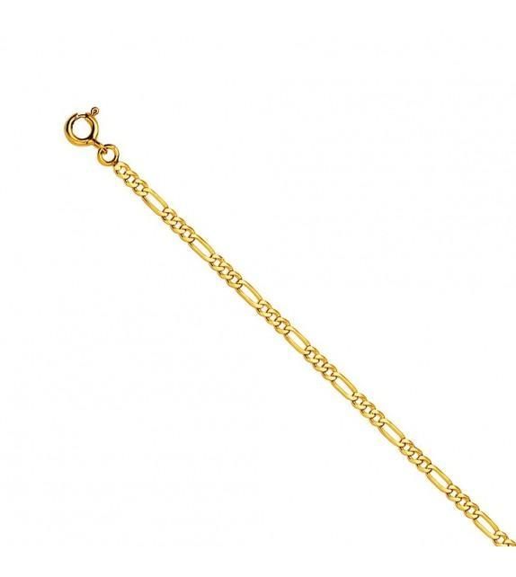 Bracelet maille alternée ultra-plate Or jaune 375/00