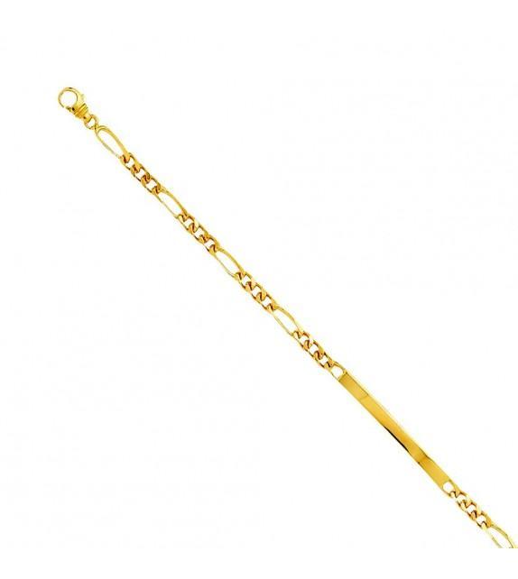Bracelet identité alterné en Or jaune 375/00