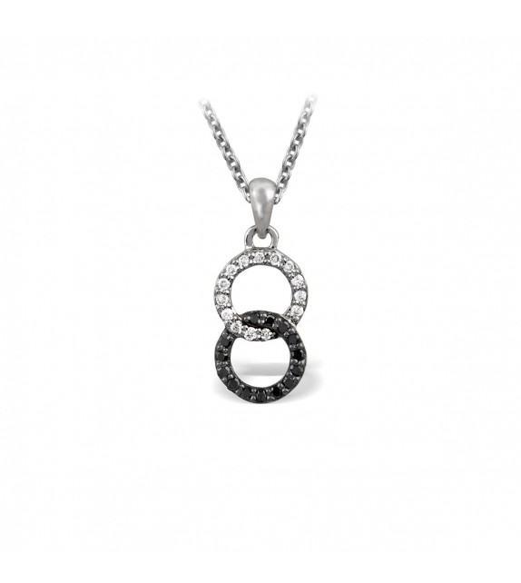 Collier anneaux entrelacés en or blanc 375/00 et sertis de diamants noirs et blancs