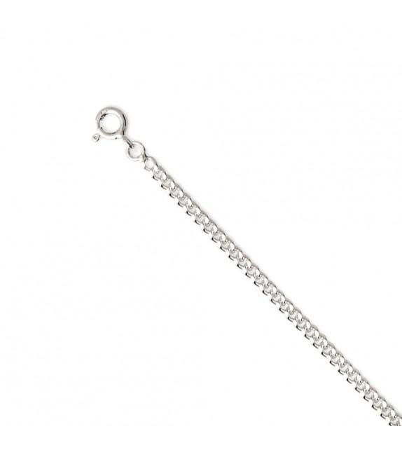 Chaine gourmette diamantée 1 mm Or blanc 375/00 - 45 cm