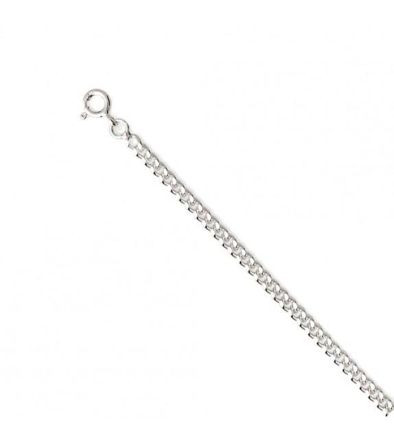 Chaine gourmette diamantée 1,5 mm Or blanc 375/00 - 60 cm
