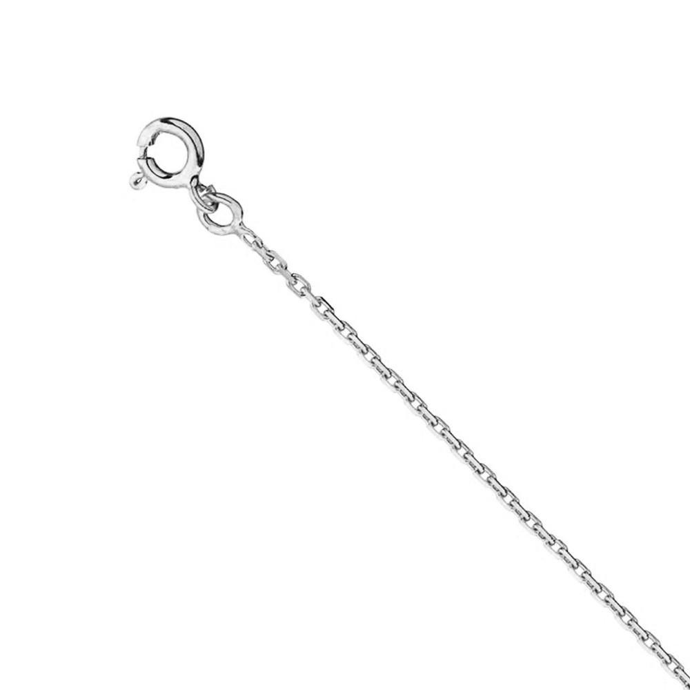 Chaine forçat diamantée 1 mm Or blanc 375/00 - 45 cm