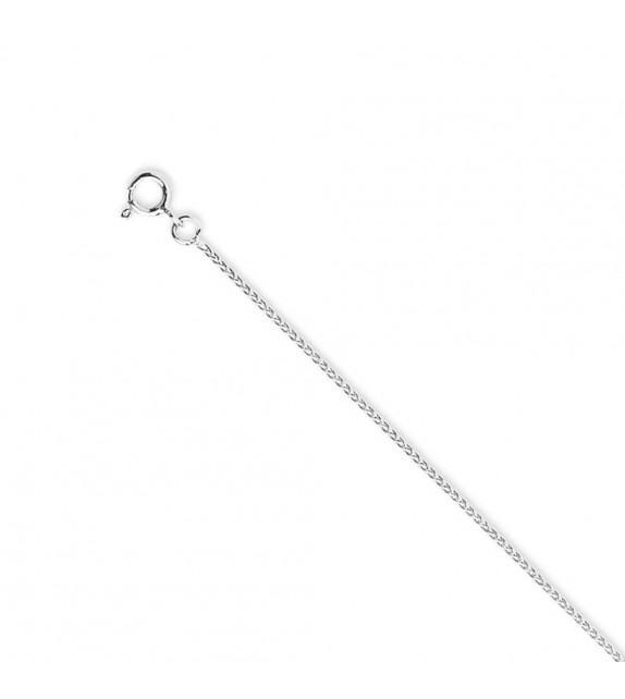 Chaine spiga 1 mm Or blanc 375/00 - 45 cm