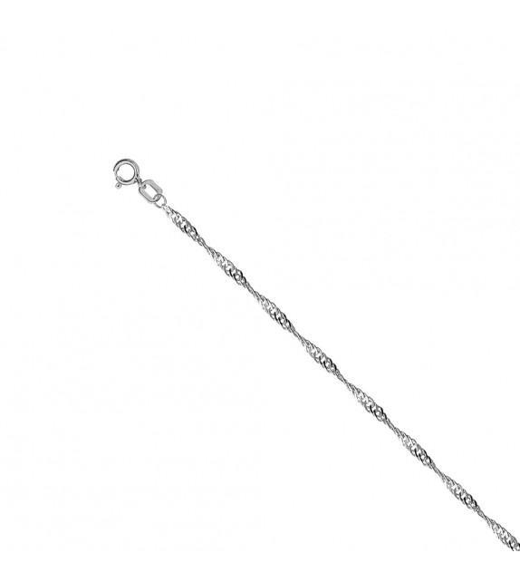 Collier chaine singapour 1,3 mm Or blanc 375/00 - 45 cm