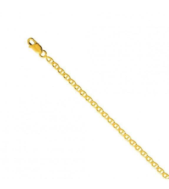 Chaine marine barette 3 mm Or jaune 375/00 - 55 cm