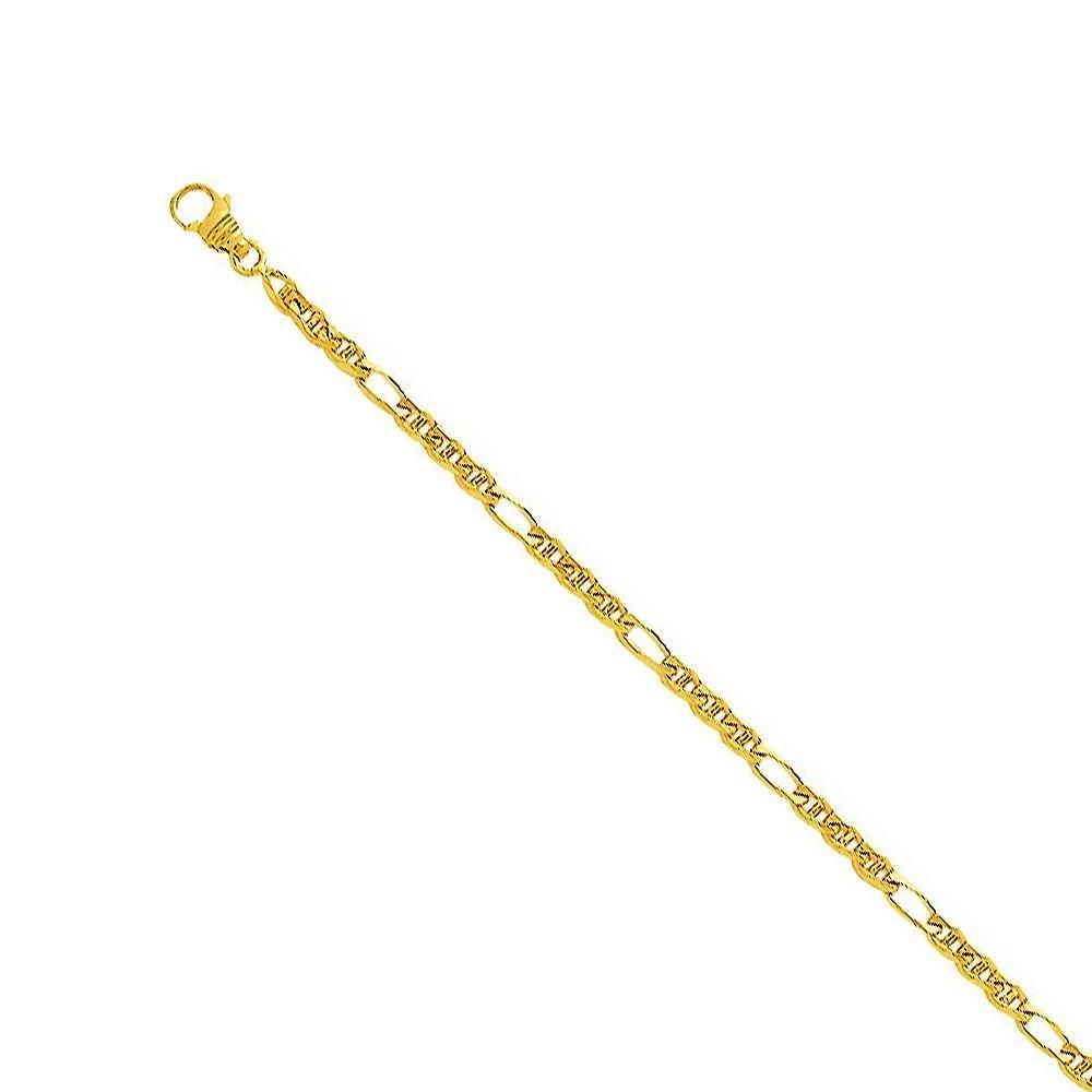 Chaine bâton alternée 3 mm Or jaune 375/00 - 55 cm