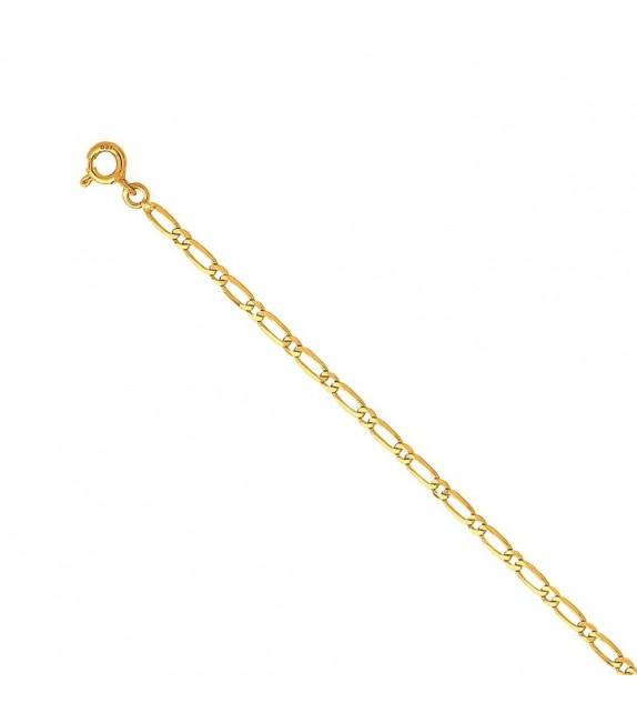 Chaine alternée ultra-plate 2,5 mm Or jaune 375/00 - 55 cm