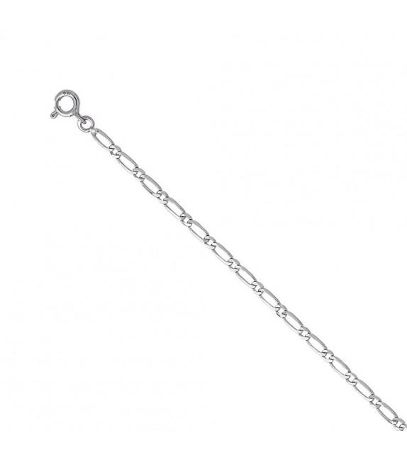Chaine alternée ultra-plate 2,5 mm Or blanc 375/00 - 55 cm