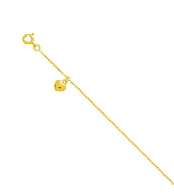 Chaine cheville breloque coeur Or jaune 375/00