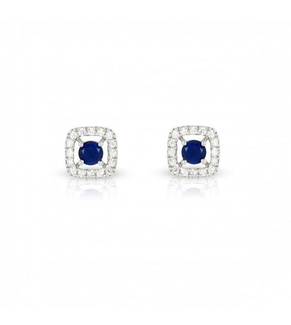 Boucles d'oreilles carrées en Or blanc 375/00 diamants et saphirs