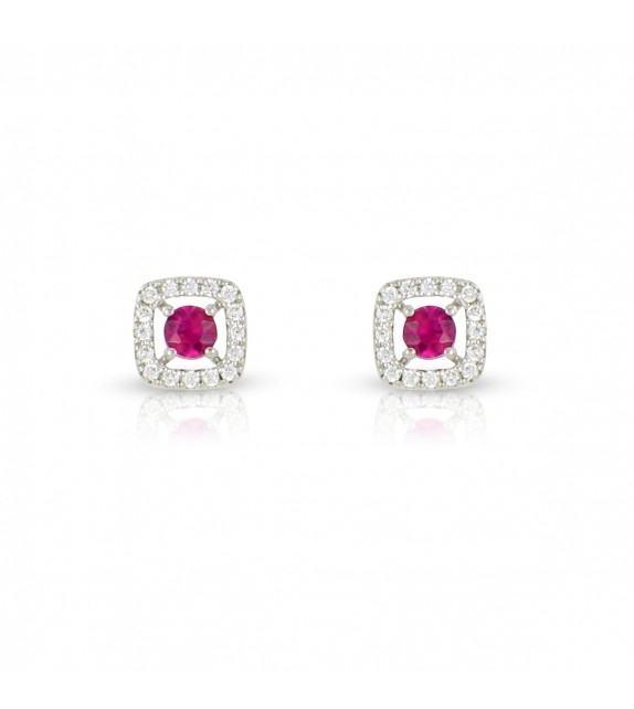 Boucles d'oreilles carrées en Or blanc 375/00 diamants et rubis