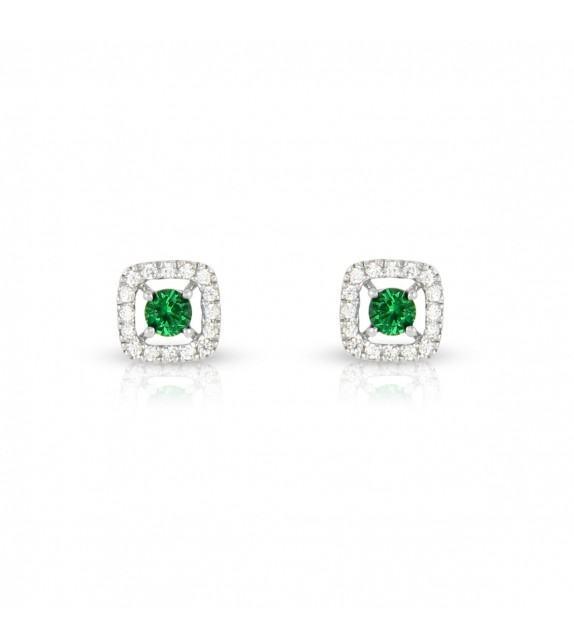 Boucles d'oreilles carrées en Or blanc 375/00 diamants et émeraudes