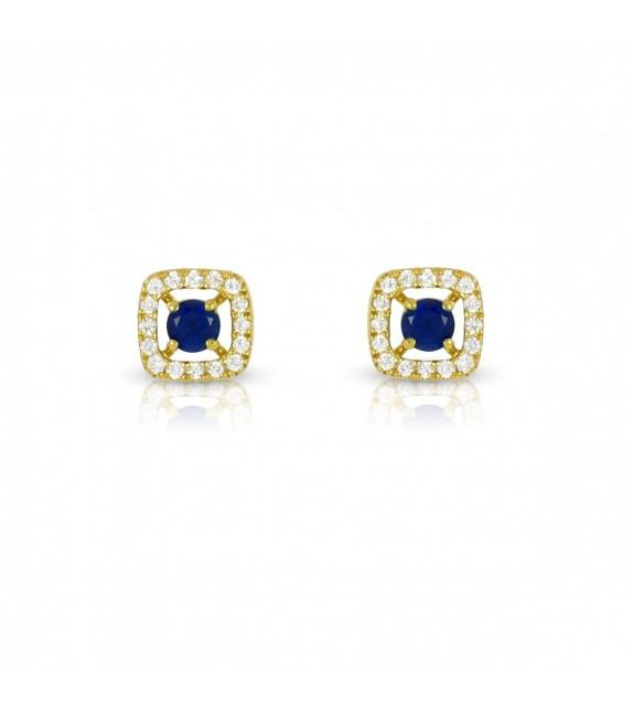 Boucles d'oreilles carrées en Or jaune 375/00 diamants et saphirs