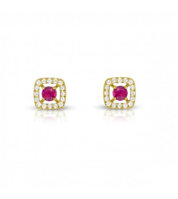 Boucles d'oreilles carrées en Or jaune 375/00 diamants et rubis