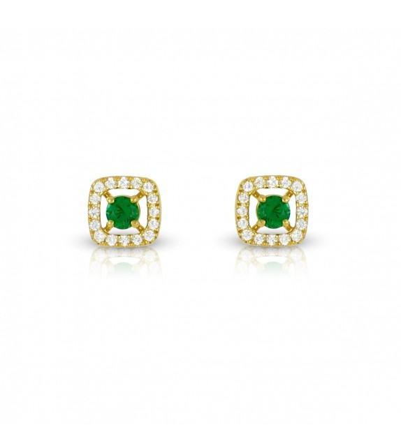 Boucles d'oreilles carrées en Or jaune 375/00 diamants et émeraudes