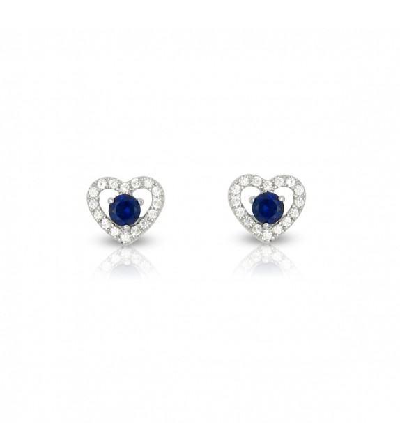 Boucles d'oreilles cœurs en Or blanc 375/00 diamants et saphirs