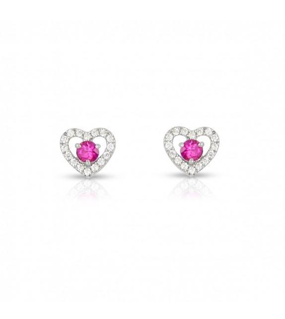 Boucles d'oreilles cœurs en Or blanc 375/00 diamants et rubis