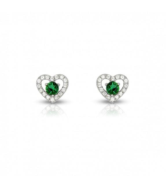 Boucles d'oreilles cœurs en Or blanc 375/00 diamants et émeraudes