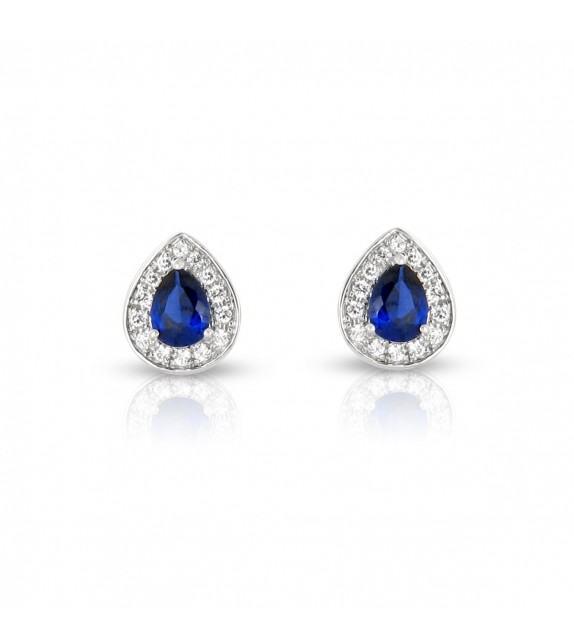 Boucles d'oreilles poire en Or blanc 750/00 diamants et saphirs