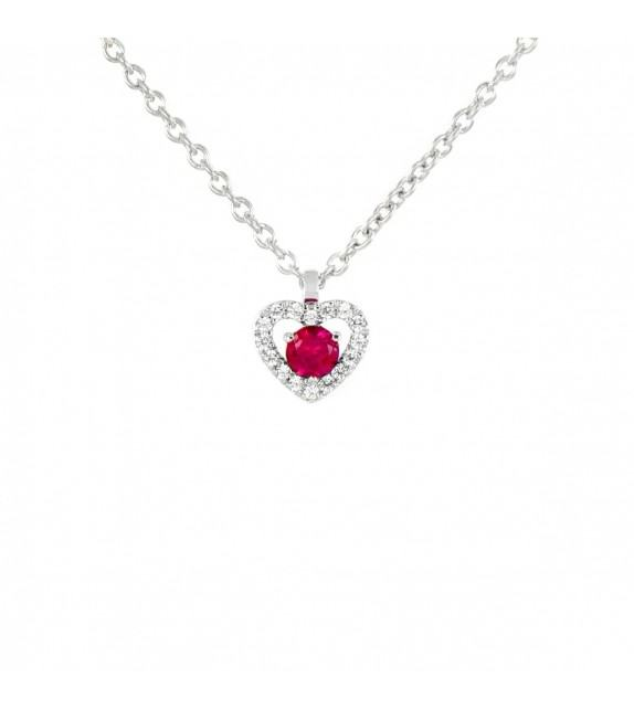 Collier cœur en Or blanc 375/00 diamants et rubis