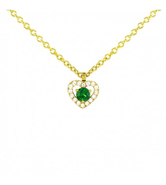 Collier cœur en Or jaune 375/00 diamants et émeraude
