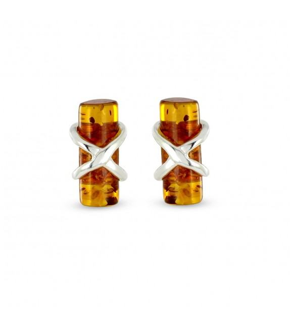 Boucles d'oreilles cylindres Argent 925/00 et ambre véritable