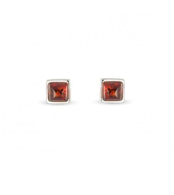 Boucles d'oreilles carrées Argent 925/00 et ambre véritable