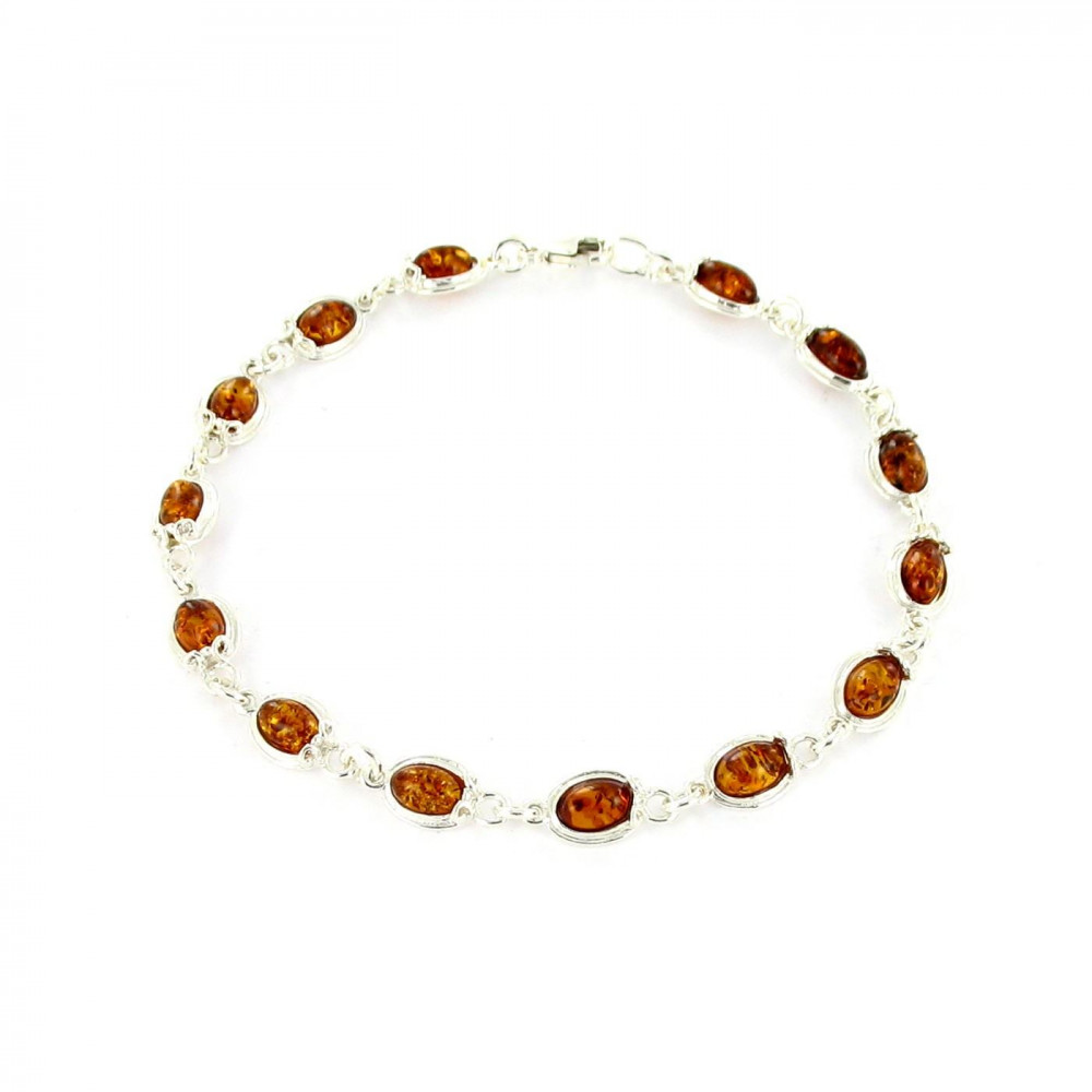 Bracelet cabochons Argent 925/00 et ambre véritable