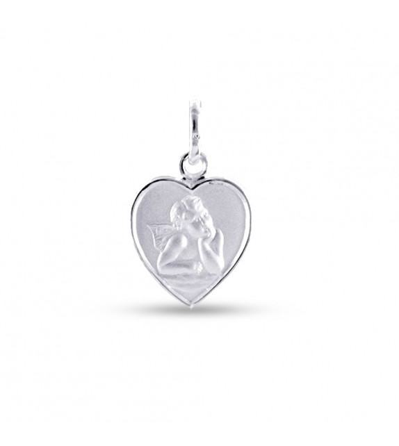 Médaille ange Raphaël cœur en Argent 925/00 rhodié