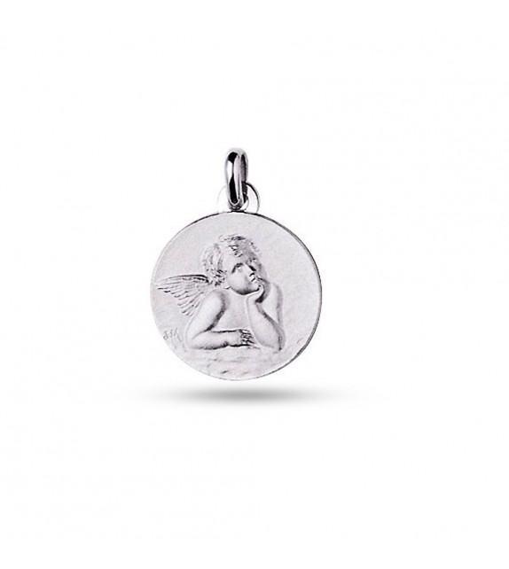 Médaille ange Raphaël cœur 925/00 rhodié