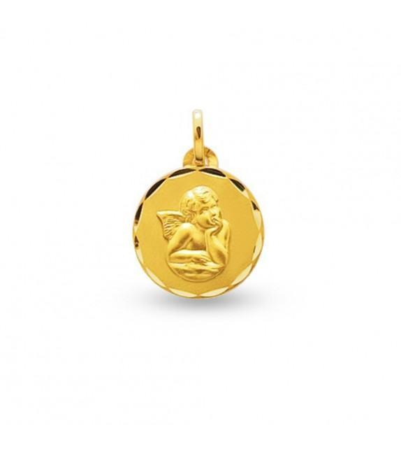 Médaille ange Raphaël à bordure ciselée en Plaqué Or