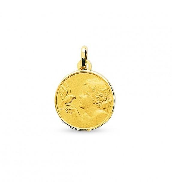 Médaille ange et colombe en Or jaune 750/00