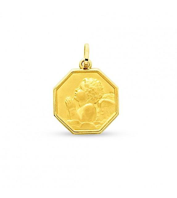 Médaille ange priant octogonale en Or jaune 750/00