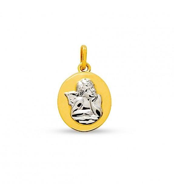 Médaille ange Raphaël en Or bicolore 750/00