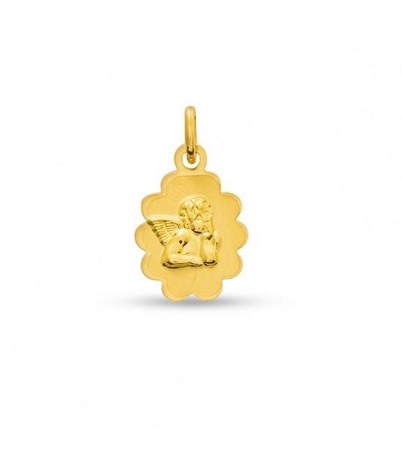 Médaille ange Raphaël découpée dentelle en Or jaune 750/00