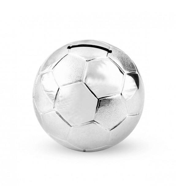 Tirelire ballon de foot en métal argenté