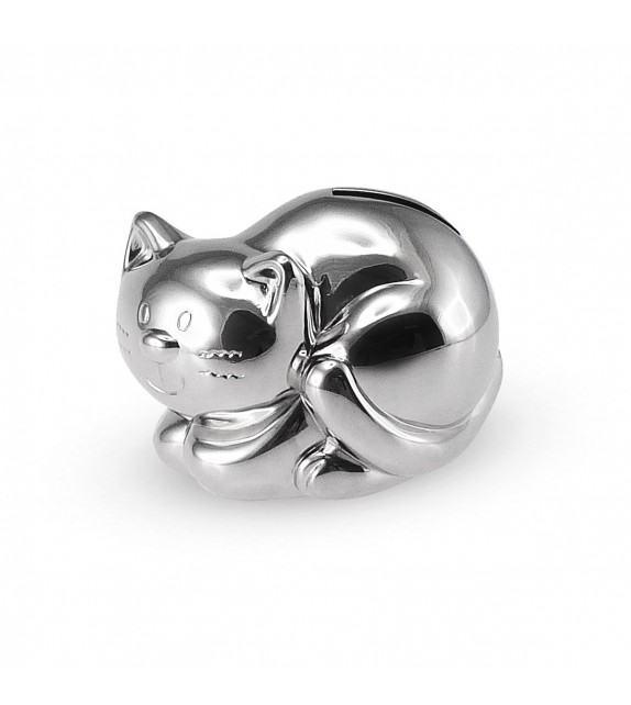 Tirelire chat en métal argenté