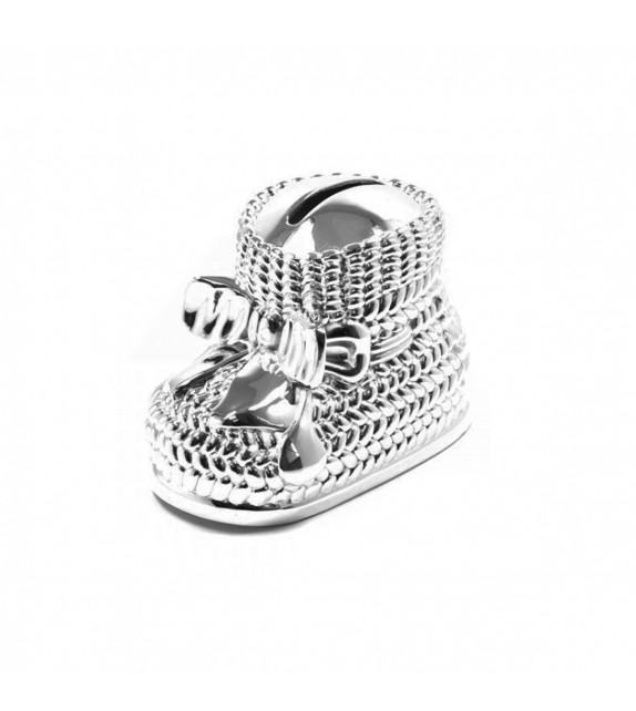 Tirelire chausson en métal argenté