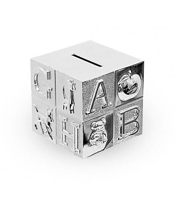 Tirelire cube de jeux en métal argenté