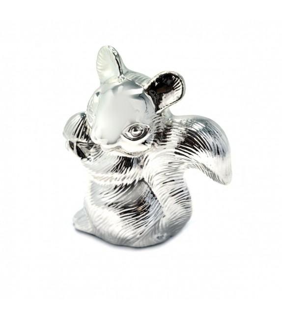 Tirelire écureuil en métal argenté