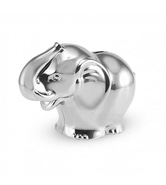 Tirelire éléphant en métal argenté