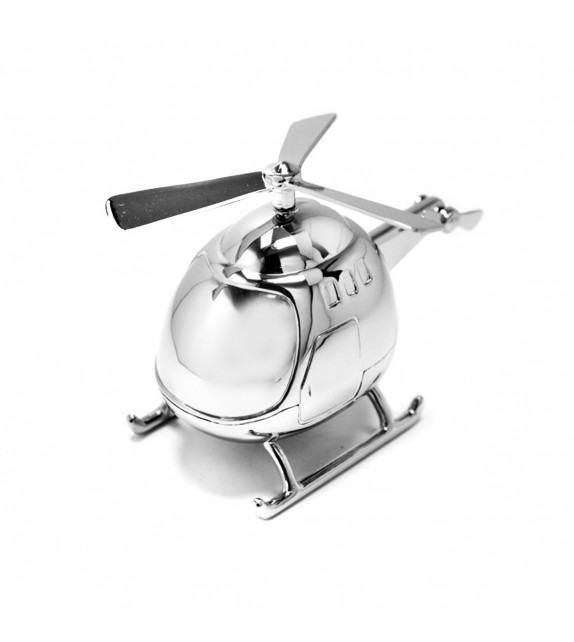 Tirelire hélicoptère en métal argenté
