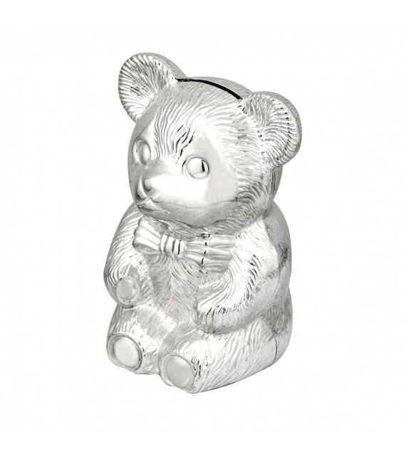 Tirelire ourson en métal argenté