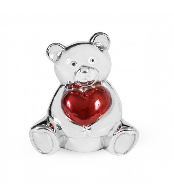 Tirelire ourson et cœur en métal argenté