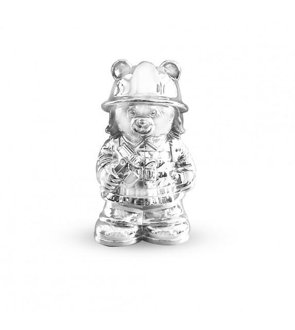 Tirelire ourson pompier en métal argenté