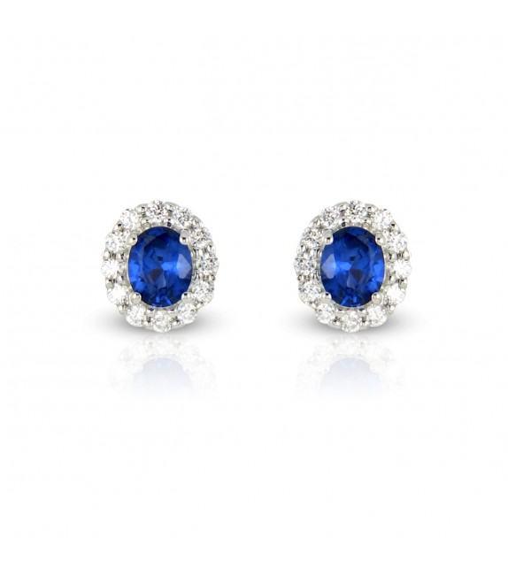 Boucles d'oreilles en Or blanc 375/00, diamants et saphirs