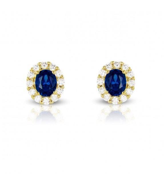 Boucles d'oreilles en Or jaune 375/00, diamants et saphirs