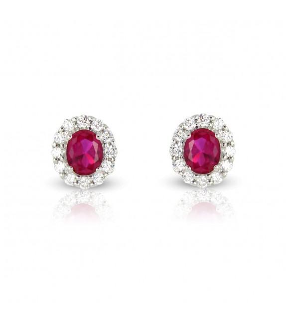 Boucles d'oreilles en Or blanc 375/00, diamants et rubis