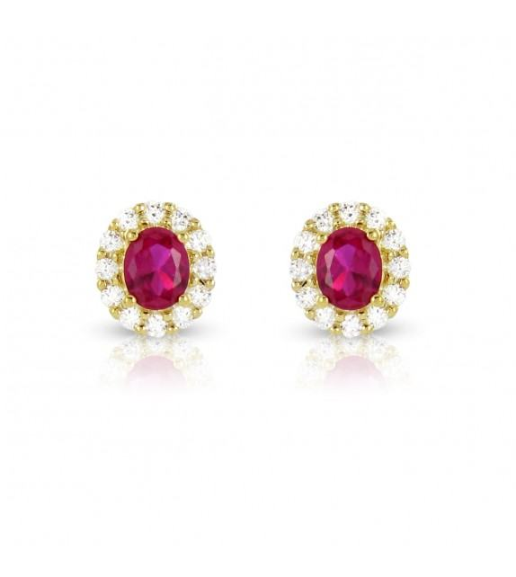 Boucles d'oreilles en Or jaune 375/00, diamants et rubis